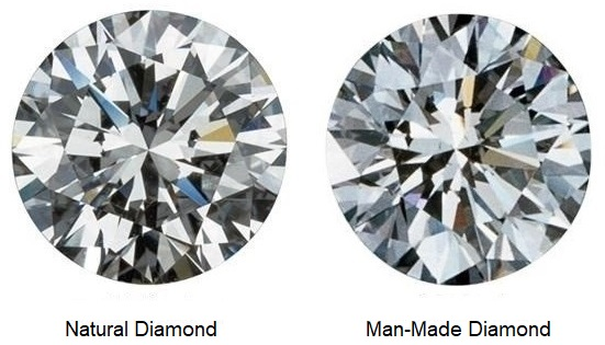 A natural faceted diamond, on the left, and a man-made faceted diamond on the right